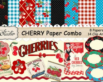 Vintage Cherries Digital Paper Pack, Retro Cherries Clip Art,  Printable paper, digital Download, Scrapbook clip art, Cards, Tags, Labels