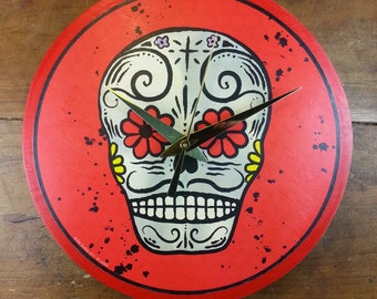 Day of the Dead Skull Wall Clock (Red)
