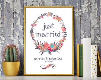 Wedding day art print, anniversary mural 'just married', personalized DIN A4