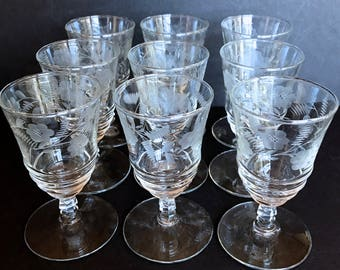 Set of 9 Vintage 1940s Libbey Rock Sharpe 3005-6 Cut Crystal Juice Glasses. Glassware, Barware, Stemware. Mismatched Set.