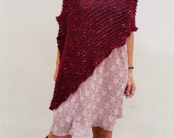 Red dark poncho, burgundy wrap, hand knit poncho, loose knitting, burgundy knitwear, burgundy poncho,