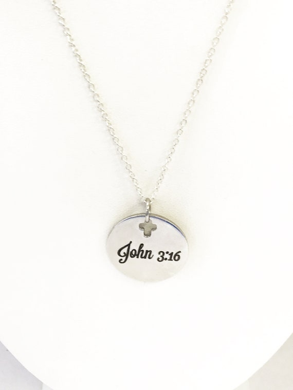 Christian Necklace, John 3 16 Necklace, For God So Loved Necklace, Christian Jewelry, Bible Verse Necklace, Scripture Gifts, Baptism Gift