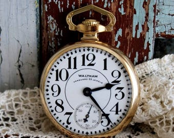 Antique Waltham Vanguard Railroad Pocket Watch by avintageobsession on etsy...20% Discount...FREE USA Shipping