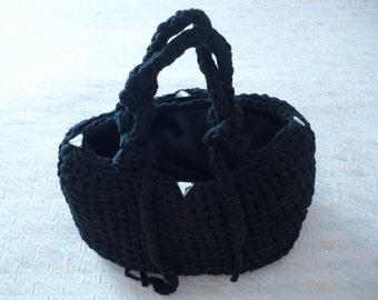 For Mother's Day: Black ribbon bag made entirely by hand