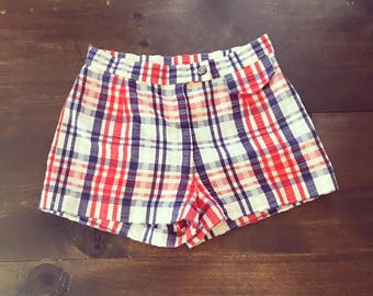 High Waist shorts//70s shorts//Red White and Blue Shorts//Checkered shorts