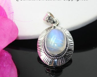 Moonstone Pendant, Moonstone Necklace, Moonstone Jewelry, Rainbow Moonstone, Sterling Silver Pendant