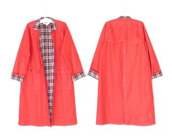 vintage raincoat * 1980s red rain coat * 80s trench coat * long duster jacket * s / m