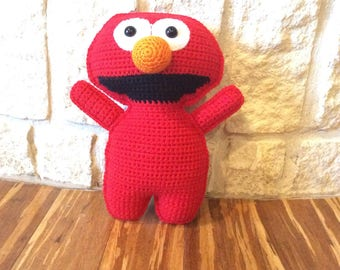 Crocheted Elmo Ragdoll-Crocheted Elmo Plushie-Crocheted Elmo Stuffed Animal-Crocheted Sesame Street Elmo