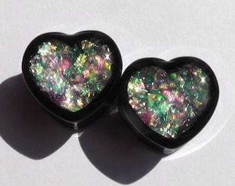 Sunlight Crystal Heart Plugs - 0g,00g,7/16,1/2,9/16,5/8,11/16,3/4,7/8,1'