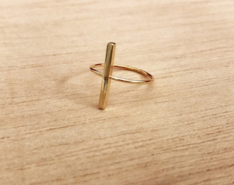 Bar ring, gold filled ring, one bar ring, minimal ring, simple ring, trendy ring, stick ring, fashion ring, modern ring, dainty ring, bar