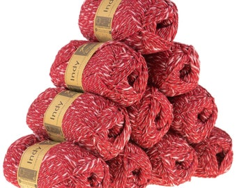 10 x 50g recycled yarn Indy, color 114 red