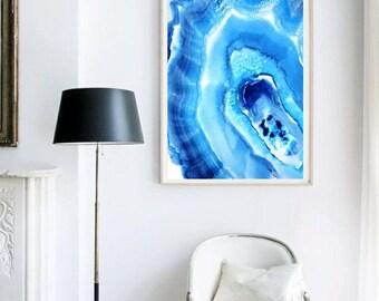 Geode Painting, Geode Print, Geode Art, Agate Watercolor, Agate Wall art, Agate Art Print,  Agate Print, Agate Painting, Blue Agate Art Zen