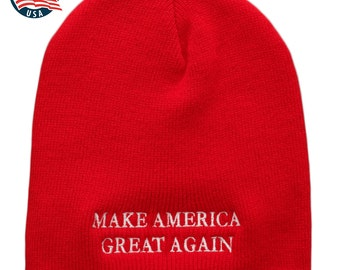 Made in USA, Donald Trump Make America Great Again Embroidered Short Knit Beanie