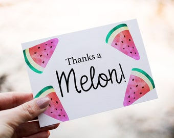 Thank you Card, Watermelon Thank You Card, Thanks a Melon, Printable Thank You Card, Printable Thank you Greeting Card