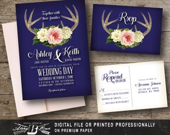 Rustic Wedding Invitation SET | Blush Pink Deer Vintage  | Printed Invite Printable Digital File DIY | Antler Navy Blush Pink Wedding Invite