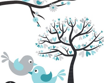 Winter Wedding - Love Birds in Silver and Turquoise - Digital Clip Art
