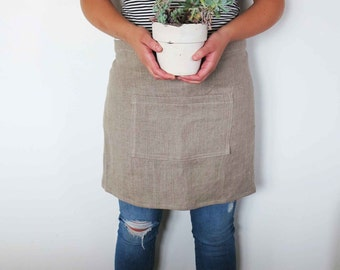 linen apron, linen half apron, garden apron oatmeal Eruopean linen large pocket