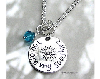 You Are My Sunshine Necklace Personalize Birthstone Crystal Gemstone You Are My Sunshine Charm Necklace Gift For Daughter #N534