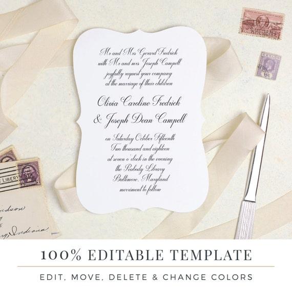 Druckbare Hochzeit Einladung Vorlage Liebesbrief Wort oder