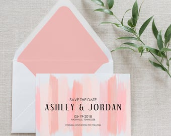 Blush Brush Stroke Save the Date, Flat Card, Postcard | Deposit