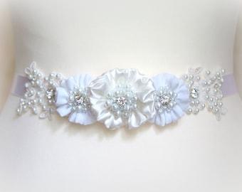 Bridal sash belt  floral sash, White all flowers Satin Flowers Pearls Beaded Lace Wedding Dress Sashes Belts