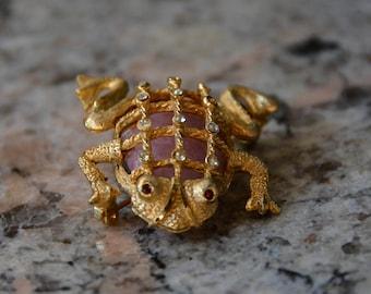 Vintage Frog Brooch Pin Golden tones Pink Rhinestones