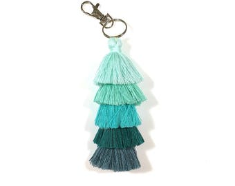 Ombré Tassel Keychain, Layered Fringe Keychain, Tiered Tassel Purse Charm, Stacked Tassel Bag Charm, Boho Keyring, Pink, Yellow, Blue, Green