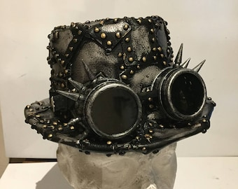 OOAK Handmade Steampunk Top Hat, With Metalic Silver Leather Patches And Gold Effect Riveted With Or Without Silver Effect Spiked Goggles