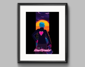 The Heartbreaker 2 Art Print - synthwave, vaporwave, outrun, 80s, retro, ocean, neon, sunset, california, girl, motorcycle