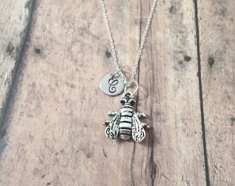 Housefly initial necklace - housefly jewelry, insect necklace, bug jewelry, fly jewelry, entomology jewelry, silver housefly pendant