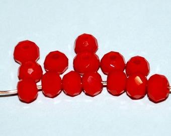 30 pcs 4x3mm Opaque Dark Dark Orange Faceted Rondelle Glass Beads DDO