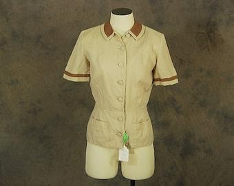 vintage 50s Blouse - 1950s Khaki Button Front Shirt Deadstock Blouse - Sz XS