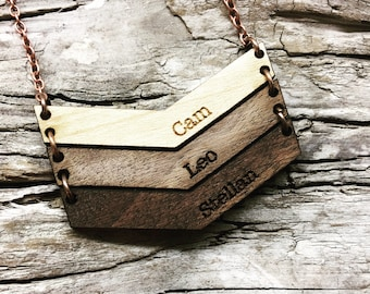 Mama Chevron Personalized Wood Necklace - Engraved Name Wooden Bar Drop Necklace  - Mothers Day Gift
