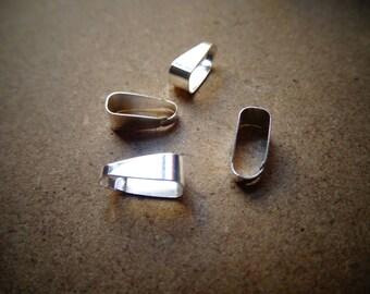 50 clip silver color pendant bails