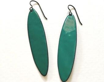 Enameled copper oval long minimal earrings - sage green