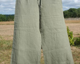 Women linen pants. Sage Green pants, comfortable.   Bohemian.  French vintage.