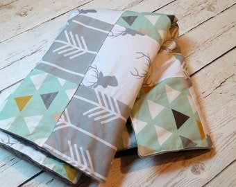 Deer Tribal Patchwork Baby Blanket-2 sizes available