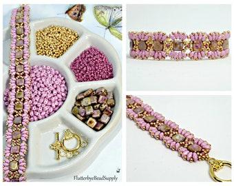 MiniDuo Gold Alabaster & Pink Luster Bead Pack, Deb Roberti's MiniDuo Bands Bracelet Tutorial Sold Separately, DIY Jewelry, Bead Supply