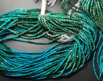 13'' Full Starnd, Super Rare Finest Quality, Chrysocolla Faceted shaded Rondelles, Size 2.40mm, Wholesale Price
