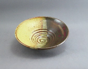 Pottery Medium Bowl Yellow Salt & Tenmoku FF09