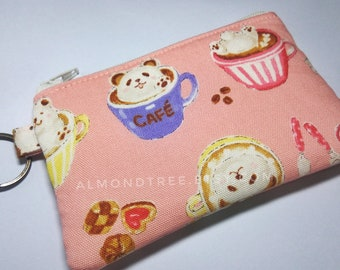 Beary Tea Break, key ring zip coin purse Japanese fabric, portefeuille women wallet portemonnaie cardholder id180411, gift travel organizer