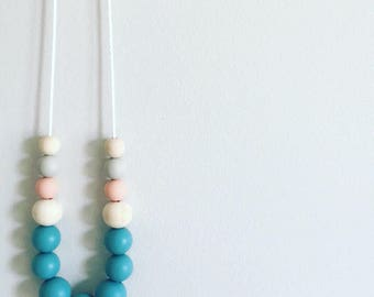 Duck Egg Dreaming - Silicone & Timber Necklace