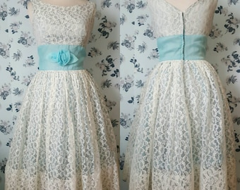 1950s 50s full skirt wedding dress lace with blue waistband rosette accent S M Rockabilly pin up vlv bride bridal