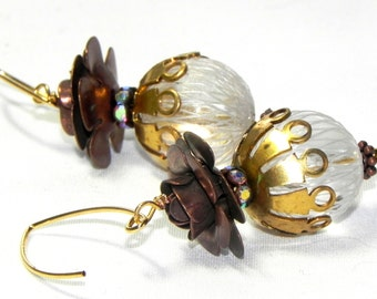 Gold, brown and white threaded bead earrings - Swarovski Rondelles - Roses