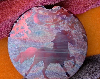 "Handmade Lampwork Focal Bead ""Twilight Horse"" SRA Sandblasted Glass ~ Iridescent Lustre Picture Bead ~ Pinks & Purples"