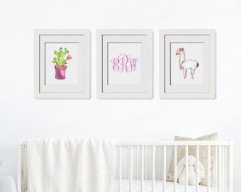 Set Of 3 Printable Cactus Art Printable Alpaca Printable Above Crib Decor Alpaca Wall Art Cactus Printables Cactus Wall Art Nursery Monogram