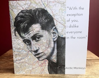 Alex Turner, Arctic Monkeys square greeting card. Blank inside.