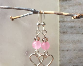 Earrings handmade, beaded earrings, gifts for her, crystal, pink agate, free US shipping