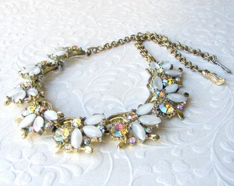 White Givre Glass Necklace Aurora Borealis Rhinestone Choker Gold Scallop Bib Wedding Bridal Formal Evening Prom AB Vintage Costume Jewelry