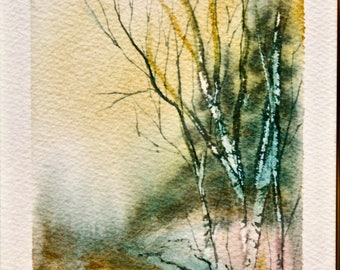 Original Watercolor Forrest next to a stream Signed by LE